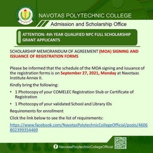 ATTENTION: 4th YEAR QUALIFIED NPC FULL SCHOLARSHIP GRANT APPLICANTS
