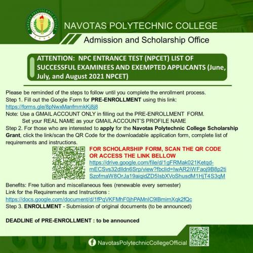 ATTENTION: NPC ENTRANCE TEST (NPCET) LIST OF SUCCESSFUL EXAMINEES AND EXEMPTED APPLICANTS (June, July, and August 2021 NPCET)