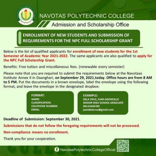 ENROLLMENT OF NEW STUDENTS AND SUBMISSION OF REQUIREMENTS FOR THE NPC FULL SCHOLARSHIP GRANT (SEPTEMBER 29, 2021)