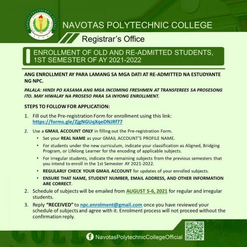 ENROLLMENT OF OLD AND RE-ADMITTED STUDENTS, 1ST SEMESTER OF AY 2021-2022