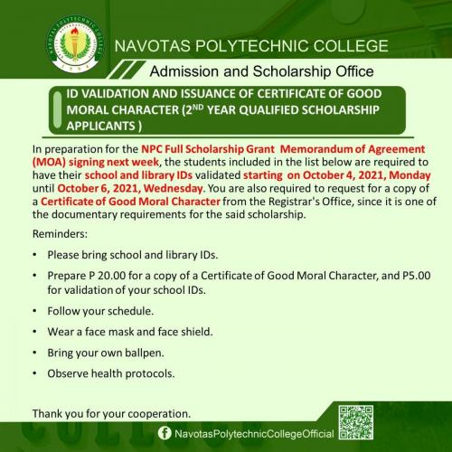 ID VALIDATION AND ISSUANCE OF CERTIFICATE OF GOOD MORAL CHARACTER (2ND YEAR QUALIFIED SCHOLARSHIP APPLICANTS )