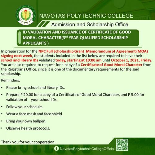 ID VALIDATION AND ISSUANCE OF CERTIFICATE OF GOOD MORAL CHARACTER (3rd YEAR QUALIFIED SCHOLARSHIP APPLICANTS)