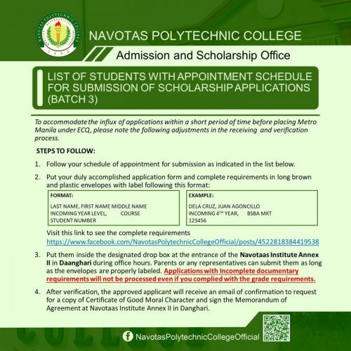 LIST OF STUDENTS WITH APPOINTMENT SCHEDULE FOR SUBMISSION OF SCHOLARSHIP APPLICATIONS (BATCH 3)