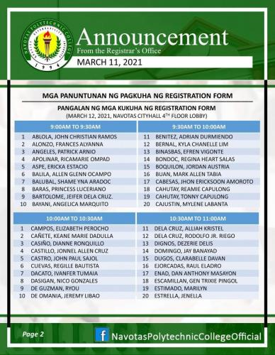 List of Names for getting Registration Form (March 2021)