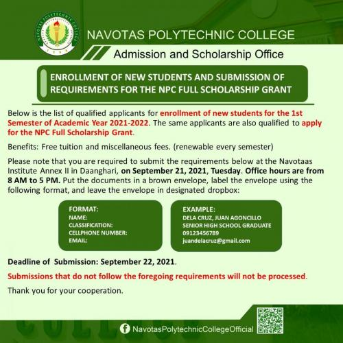 List of qualified applicants for enrollment of new students for the 1st Semester of Academic Year 2021-2022