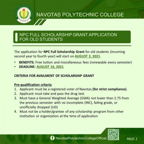 NPC FULL SCHOLARSHIP GRANT APPLICATION FOR OLD STUDENTS