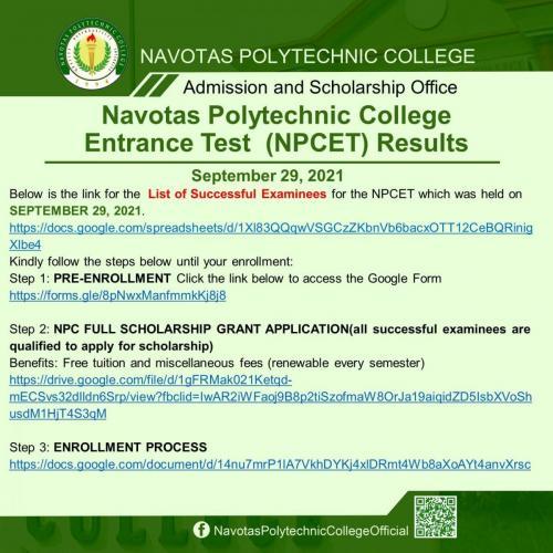 Navotas Polytechnic College Entrance Test (NPCET) Results September 29, 2021