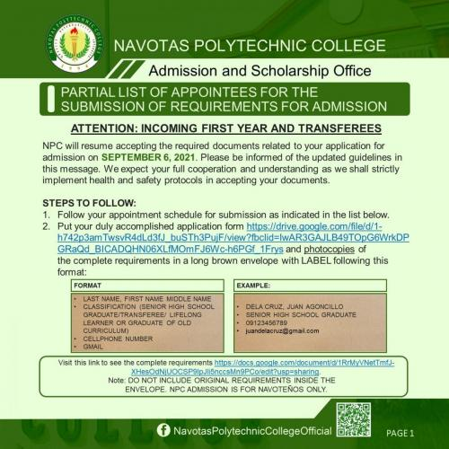 PARTIAL LIST OF APPLICANTS SCHEDULED TO SUBMIT REQUIREMENTS FOR ADMISSION