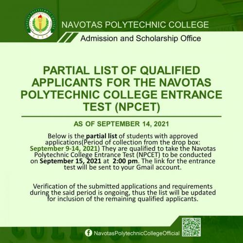 PARTIAL LIST OF QUALIFIED APPLICANTS FOR THE NAVOTAS POLYTECHNIC COLLEGE ENTRANCE TEST (NPCET) AS OF SEPTEMBER 14, 2021