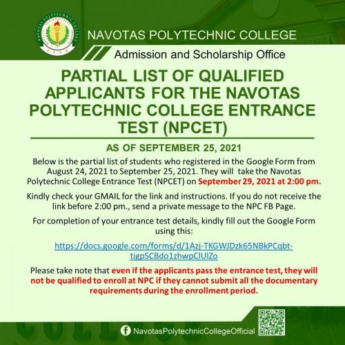 PARTIAL LIST OF QUALIFIED APPLICANTS FOR THE NAVOTAS POLYTECHNIC COLLEGE ENTRANCE TEST (NPCET) AS OF SEPTEMBER 25, 2021