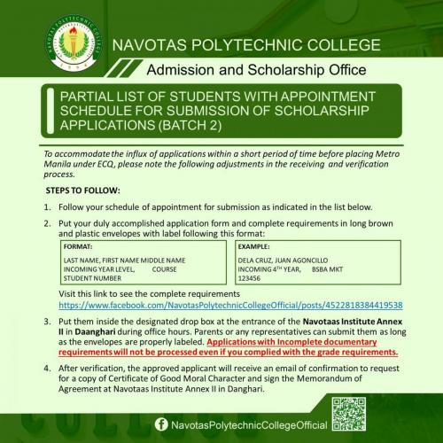 PARTIAL LIST OF STUDENTS WITH APPOINTMENT SCHEDULE FOR SUBMISSION OF SCHOLARSHIP APPLICATIONS (BATCH 2)