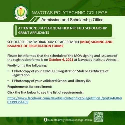 SCHOLARSHIP MEMORANDUM OF AGREEMENT (MOA) SIGNING AND ISSUANCE OF REGISTRATION FORMS