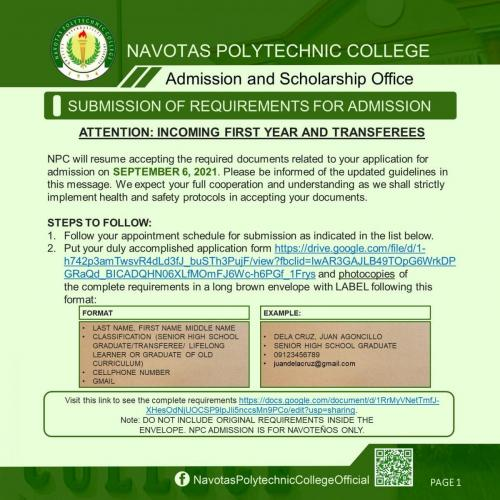 SUBMISSION OF REQUIREMENTS FOR ADMISSION